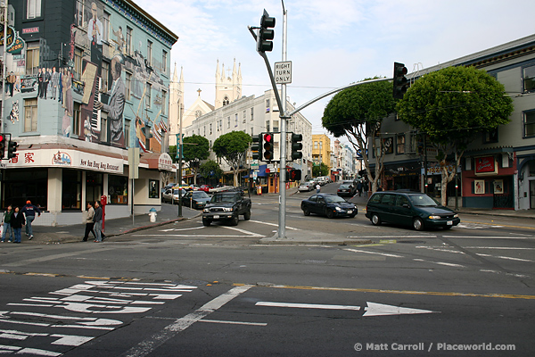 three-way street intersection in San Francisco