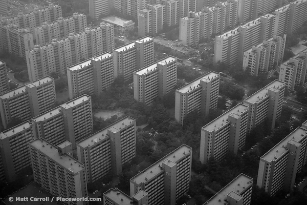apartment blocks resembling transistors, Seoul, black and white