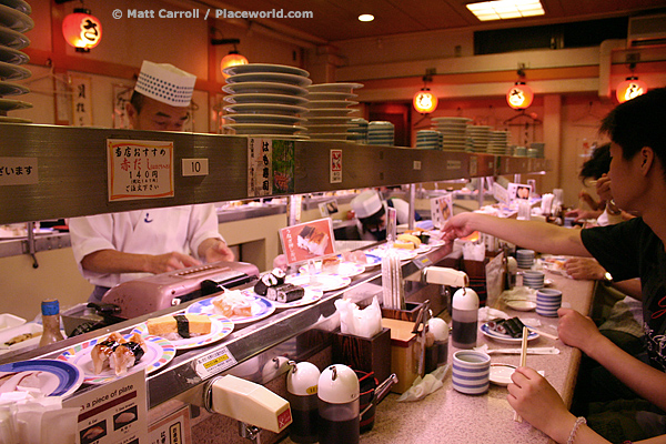 Inside a conveyor belt sushi restaurant in Kyoto