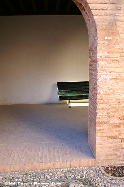 bench in a courtyard at the Alhambra